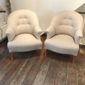 Pair of french vintage tub chairs covered in Taupe linen C1950