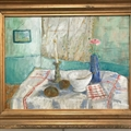 'Bonnard's breakfast table' still life, acrylic on canvas. Gilt wood frame.