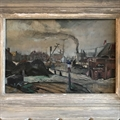'Le Port du Havre en 1934'. Le Havre in Normandy 1934. Small oil on board. Framed.