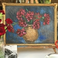 Carnations. Small still life, oil on board framed, from France